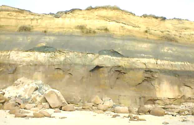 Hengistbury Head cliff face showing strata
